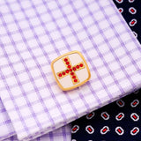 Gold Cufflinks with red crystal cross