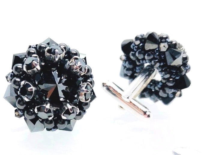 Unique handmade swarovski black silver cufflinks