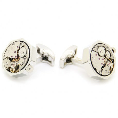 Handmade Steampunk Silver Watch Cufflinks