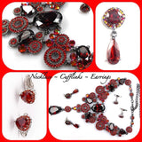 Red Necklace, Cufflinks, Earrings