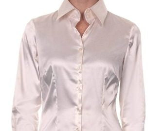 Luxury Cream Satin Shirt, Double Cuff, size 12