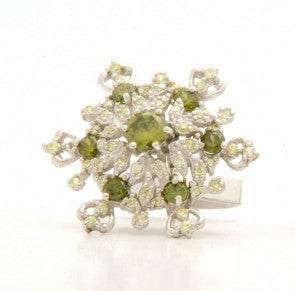 Olive/Peridot Silver Cufflinks and Necklace