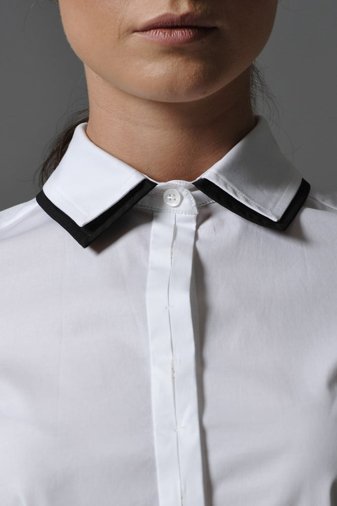 JULIETTE,  Double Layer Collar Shirt White, size 8
