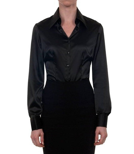 Luxury Black Satin Shirt, Double Cuff, size 12