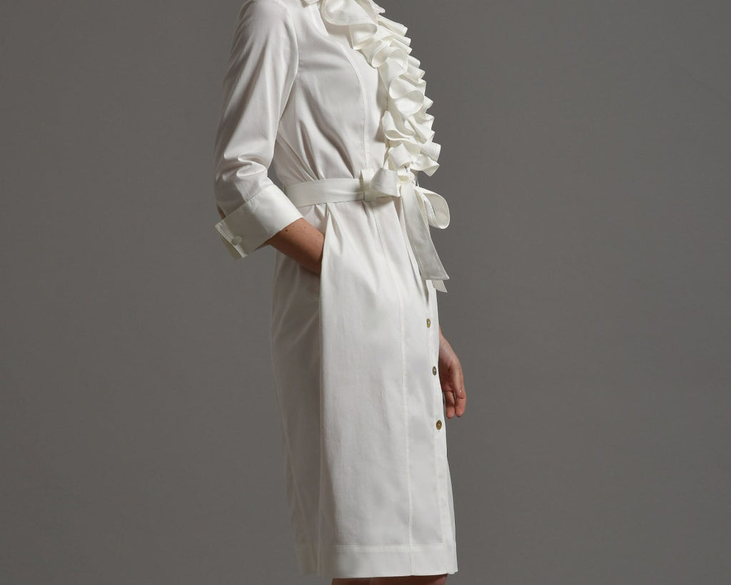 MARIA  Shirt Dress with Frill Front, Ivory size 10