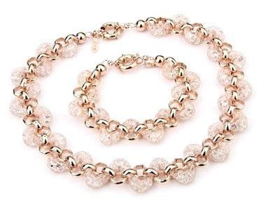 Rose Gold 18k Necklace, Bracelet, earrings set