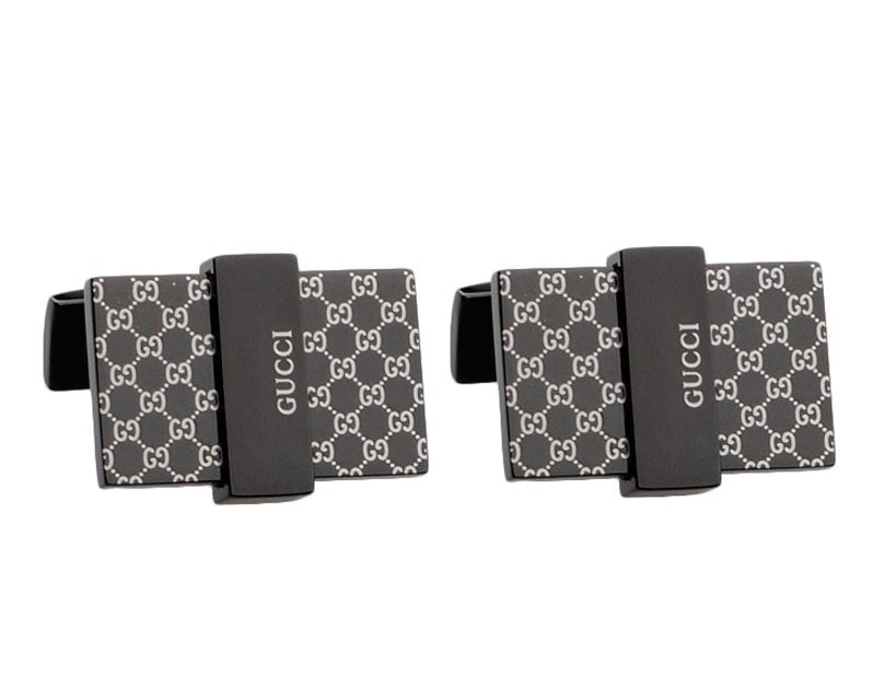 Gucci inspired black gun plated cufflinks