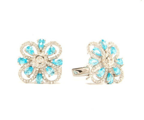 crystal Flower silver cufflinks