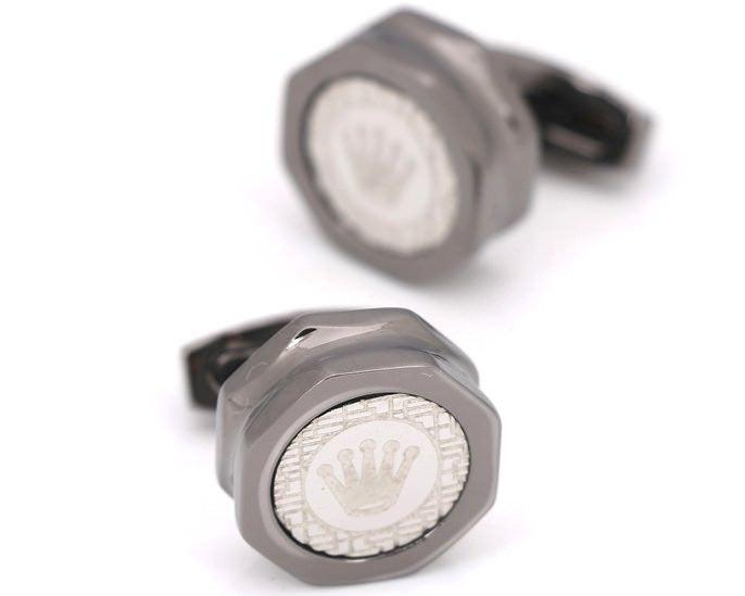 Rolex inspired black gun plated cufflinks