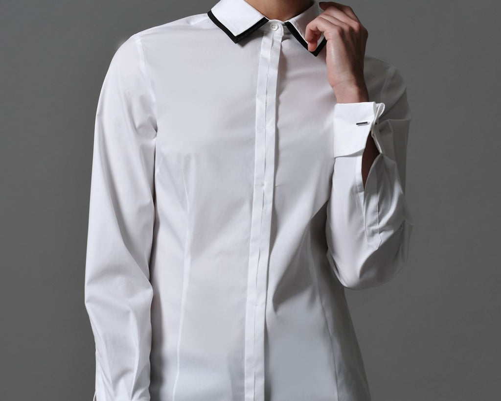 JULIETTE,  Double Layer Collar Shirt White