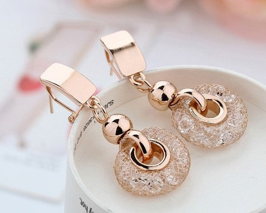 Gold Drop Earrings 18K Gold Plated
