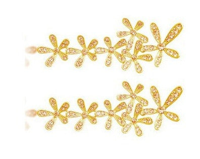 Rhinestone Long Snowflake Flower Earrings