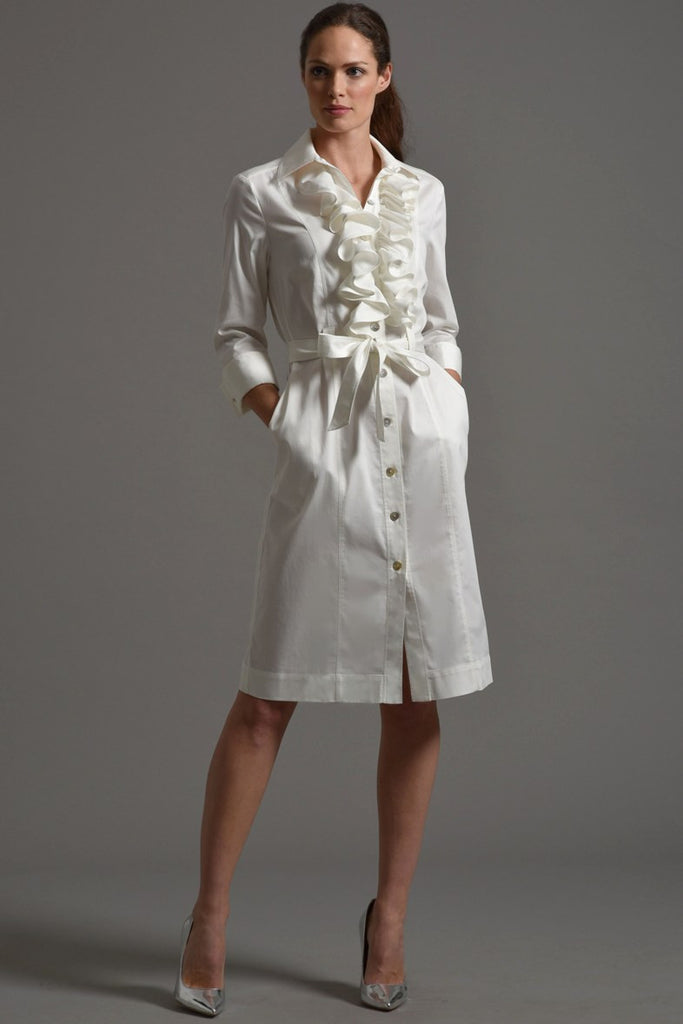 MARIA  Shirt Dress with Frill Front, Ivory size 14