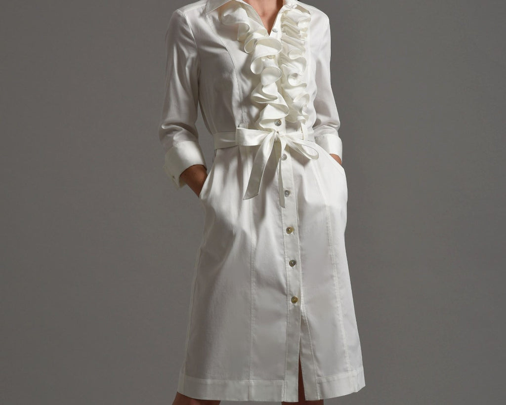 MARIA  Shirt Dress with Frill Front, Ivory size 8