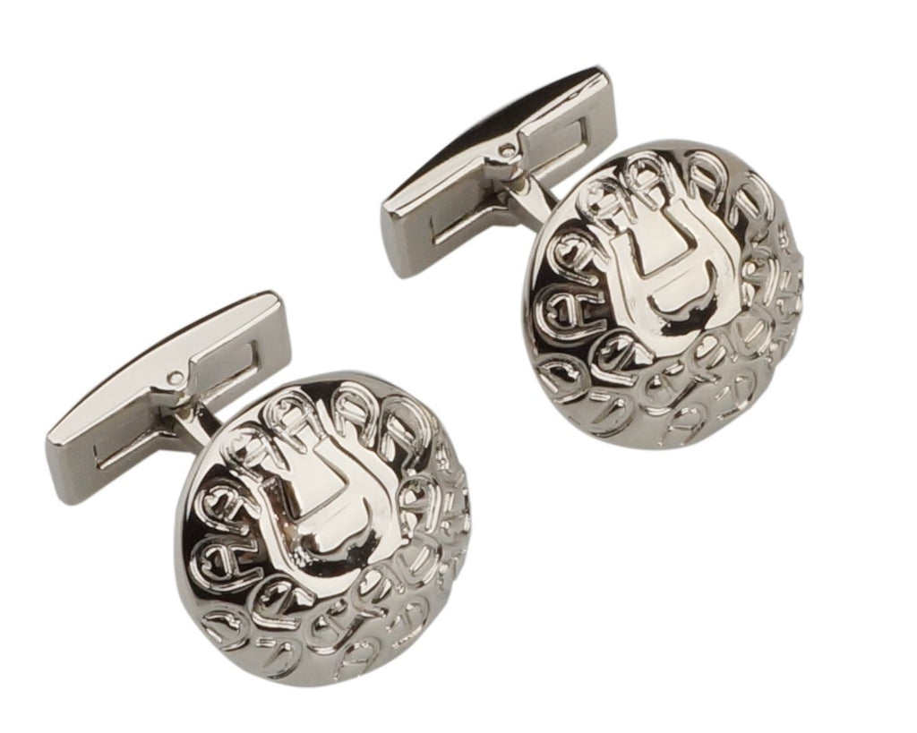 Aigner inspired silver plated cufflinks