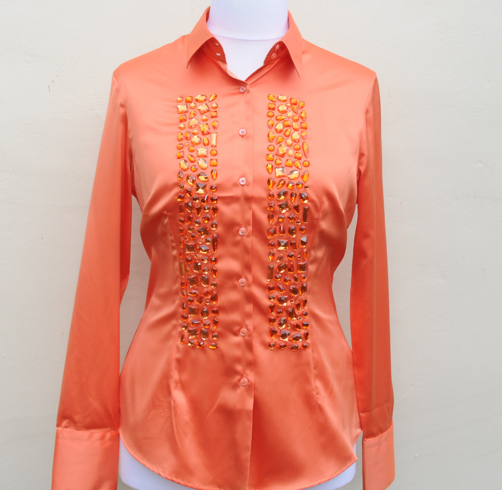 JEWELLERED ORANGE SATIN SHIRT - SINGLE CUFF