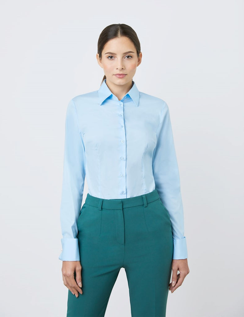 Blue Fitted Cotton Stretch Shirt - Double Cuff