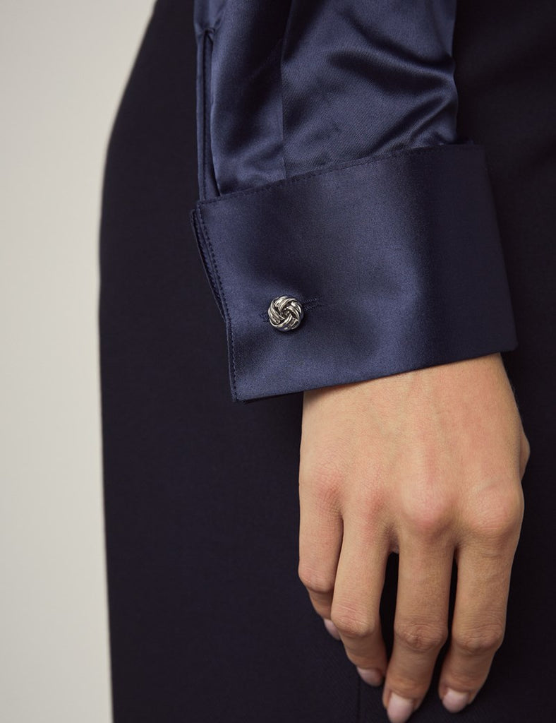 Luxury Navy Satin Shirt, Double Cuff