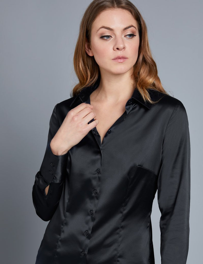 BLACK FITTED SATIN SHIRT - SINGLE CUFF