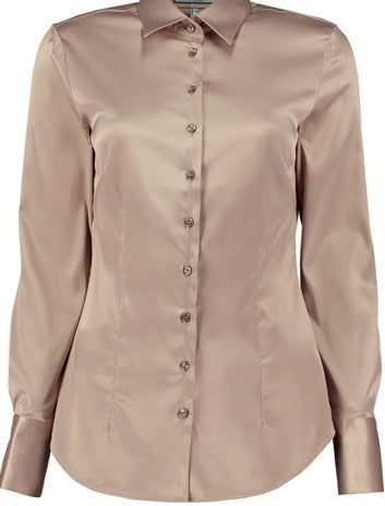 TAUPE FITTED SATIN SHIRT - SINGLE CUFF