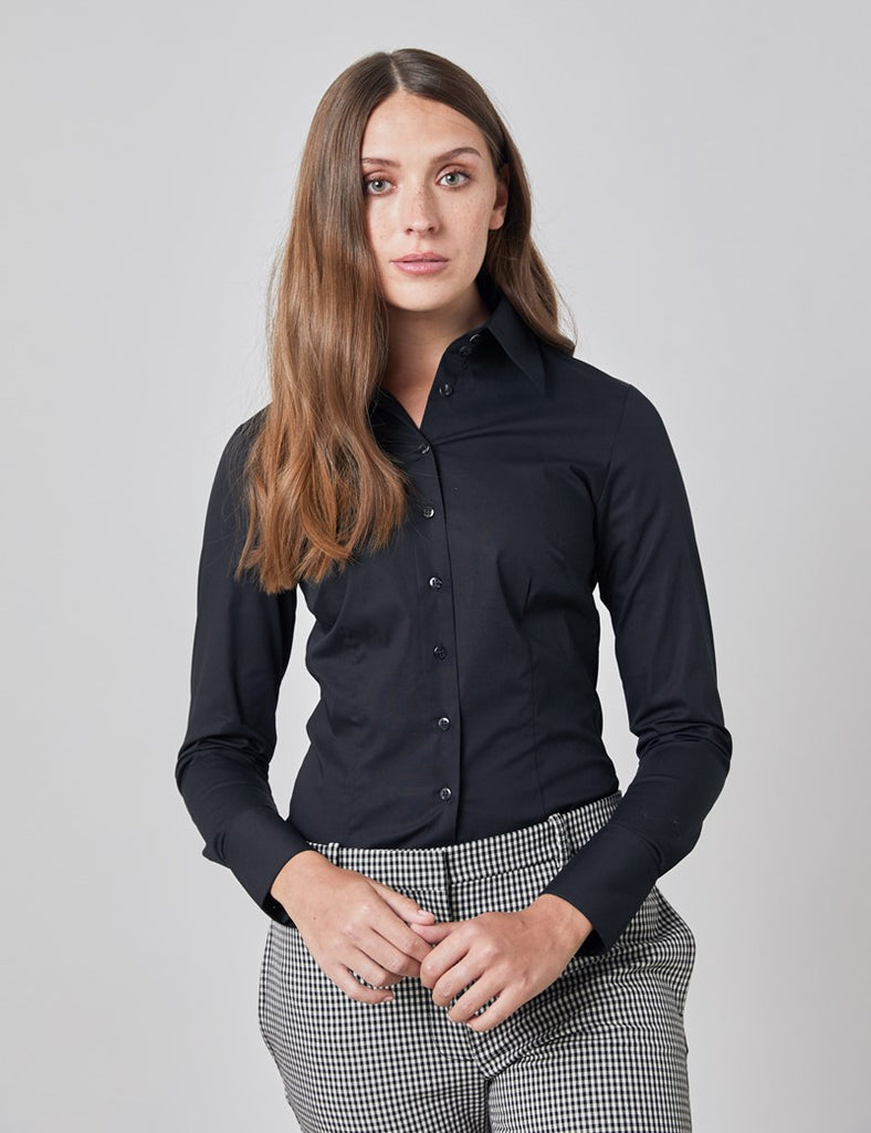 Black Fitted Shirt with High Long Collar - Single Cuff