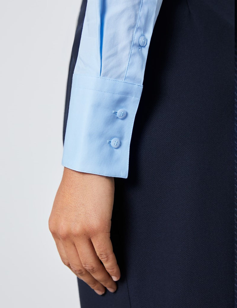 Ice Blue Fitted Shirt with High Long Collar - Single Cuff