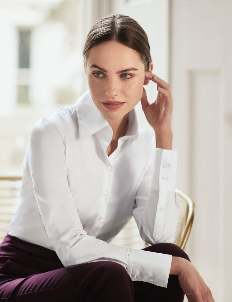 White Fitted Shirt with High Long Collar - Single Cuff