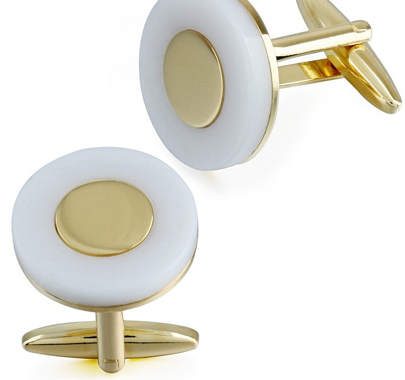 ROUND MOTHER OF PEARL GOLD CUFFLINKS
