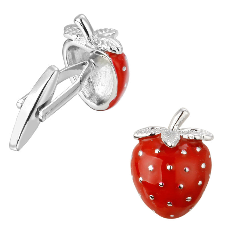 STRAWBERRY SILVER CUFFLINKS