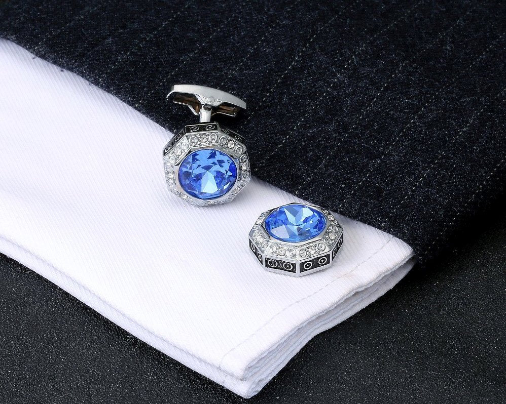 SILVER BLUE CRYSTAL CUFFLINKS
