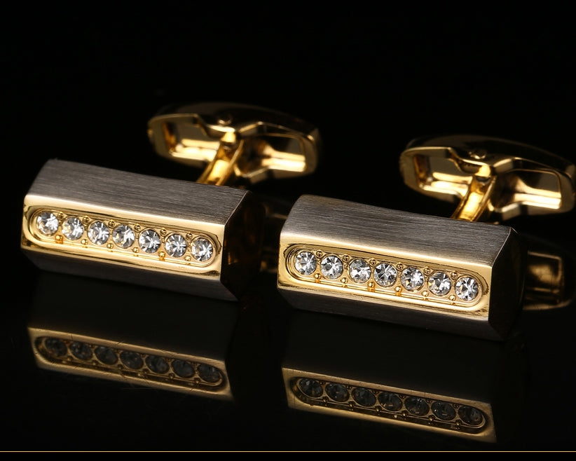 GOLD CRYSTAL CUFFLINKS
