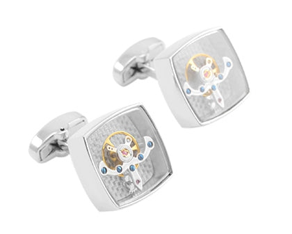 SILVER TOURBILLON CUFFLINKS