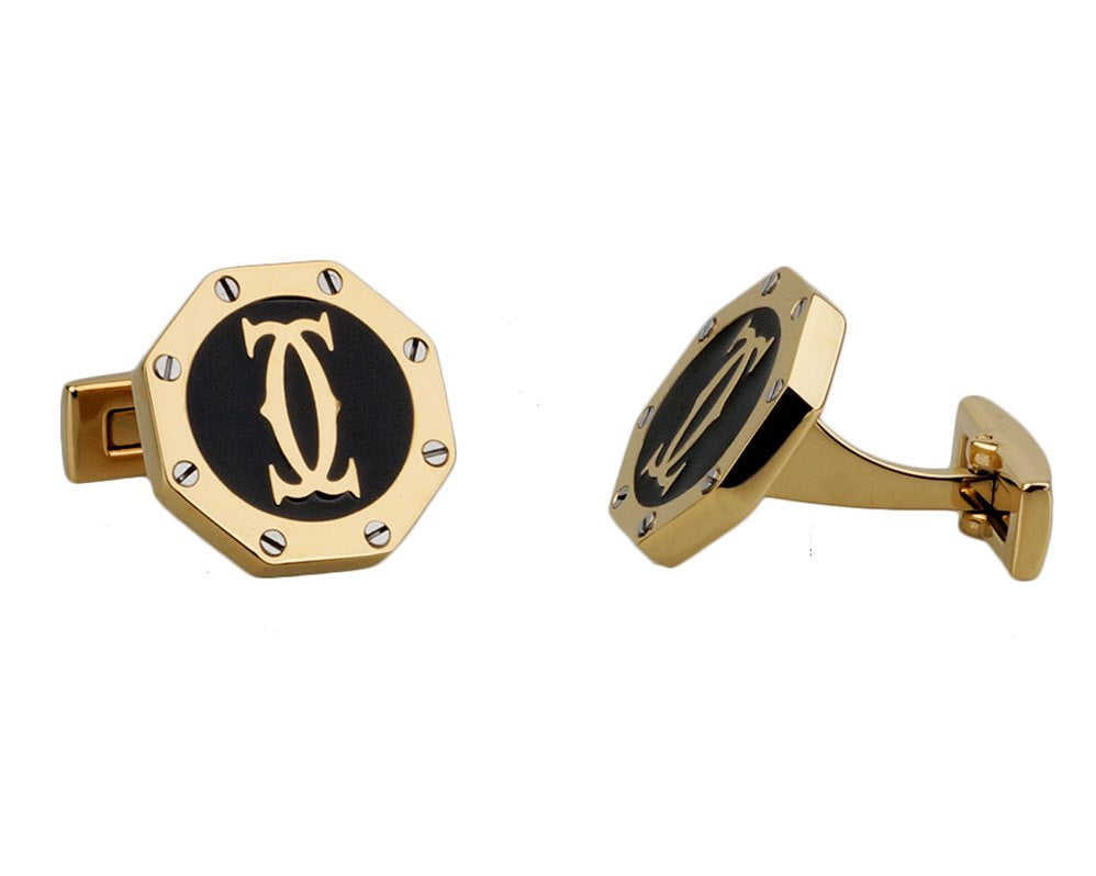 Cartier inspired gold plated black round cufflinks