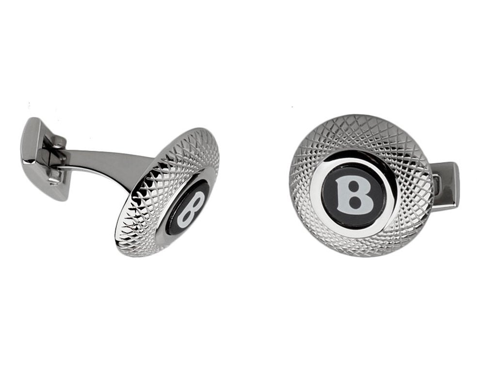 Bentley inspired silver plated round cufflinks