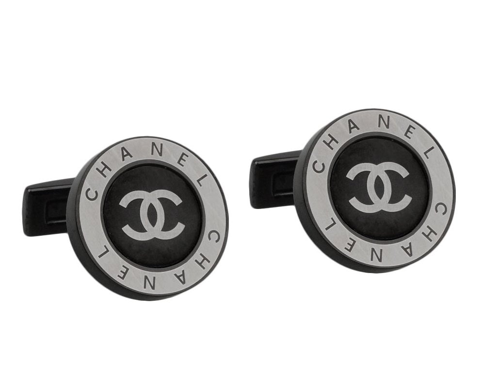 Chanel inspired black gun plated cufflinks