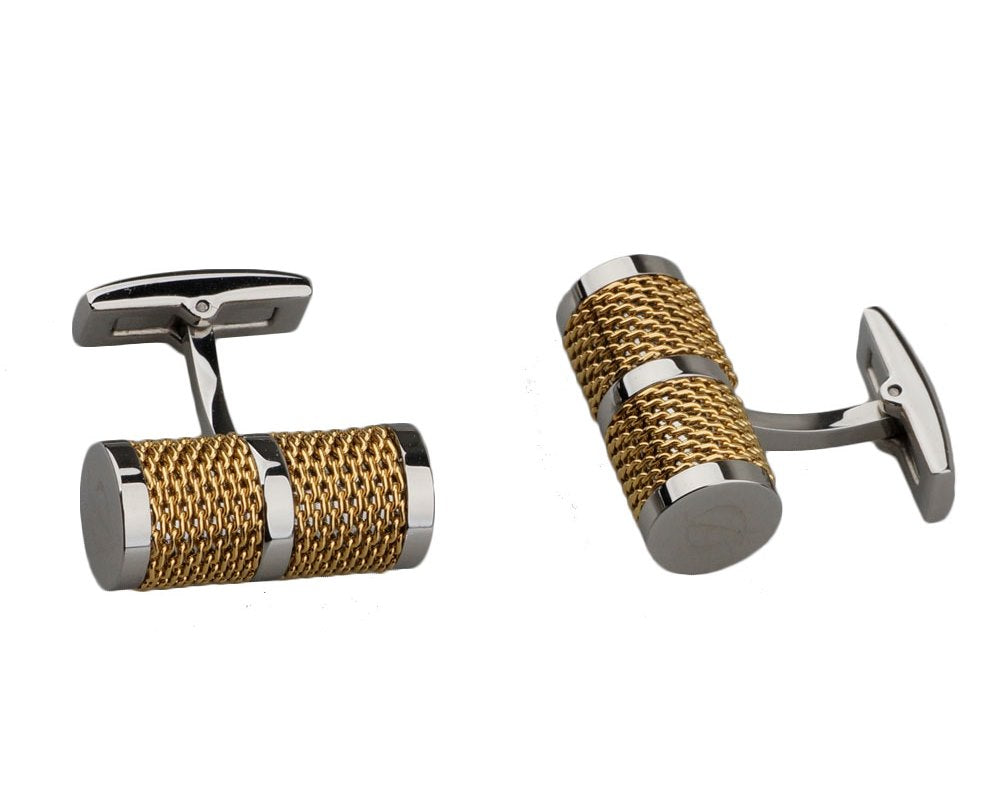 Dupont inspired tube chain gold plated cufflinks