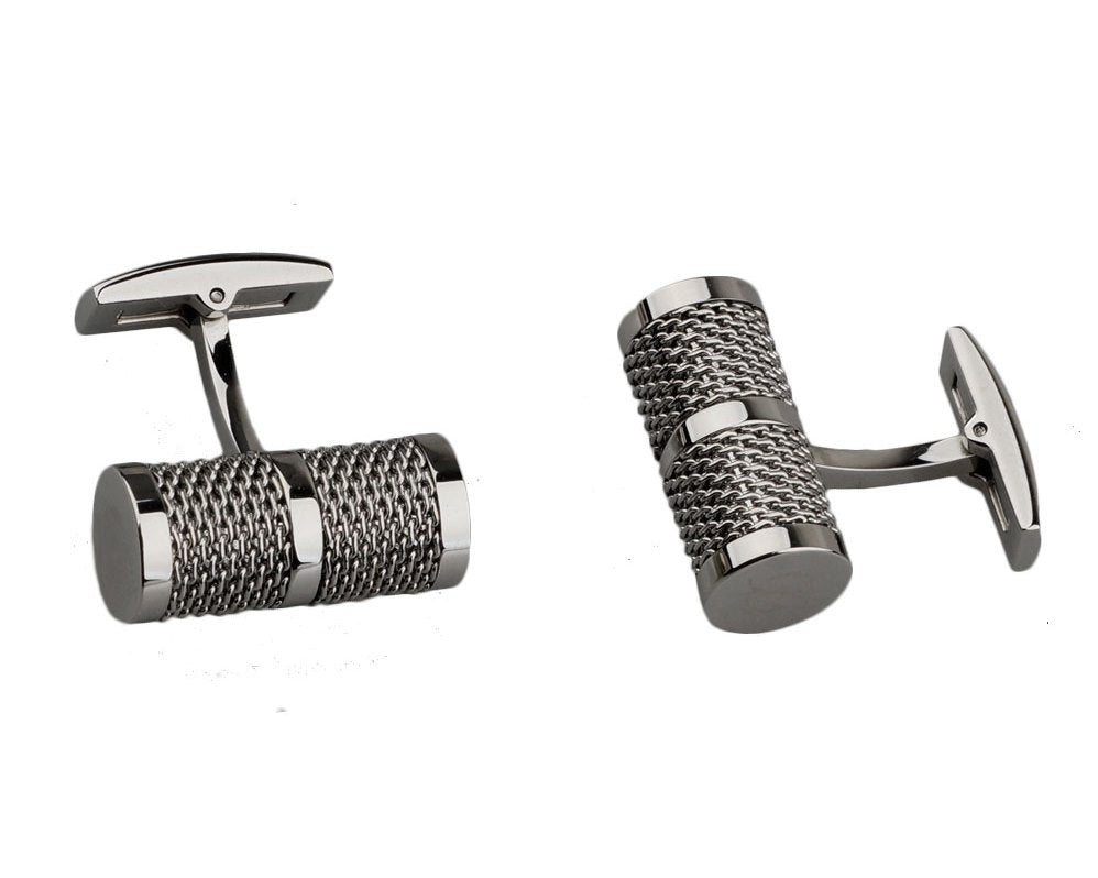 Dupont inspired tube chain silver plated cufflinks
