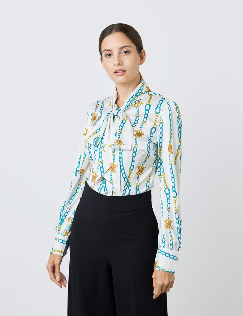 White & Green Chain Links Print Satin Blouse - Single Cuff - Pussy Bow