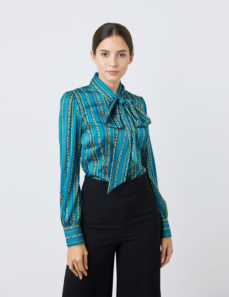 Blue & Light Blue Multi Chains Print Satin Blouse - Single Cuff - Pussy Bow