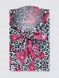 Blue & Pink Animal Paisley Print Fitted Satin Blouse - Single Cuff - Pussy Bow