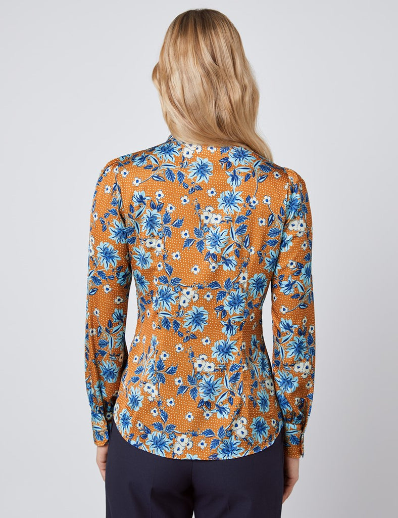 Brown & Blue Floral Fitted Satin Blouse - Single Cuff - Pussy Bow