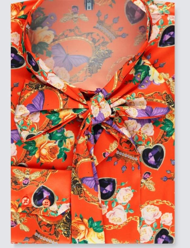 Orange & Purple Floral Jewelry Fitted Satin Blouse - Single Cuff - Pussy Bow