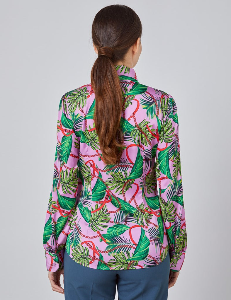 Pink & Green Tropical Floral Fitted Satin Blouse - Single Cuff - Pussy Bow