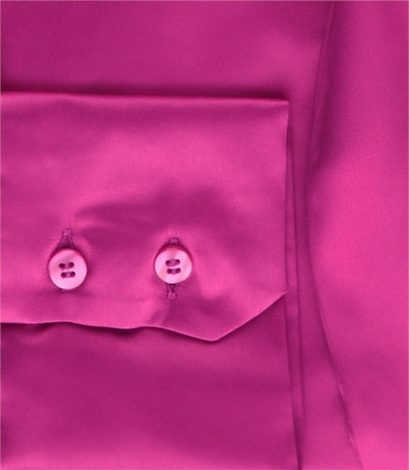 FUCHSIA FITTED SATIN BLOUSE - PUSSY BOW