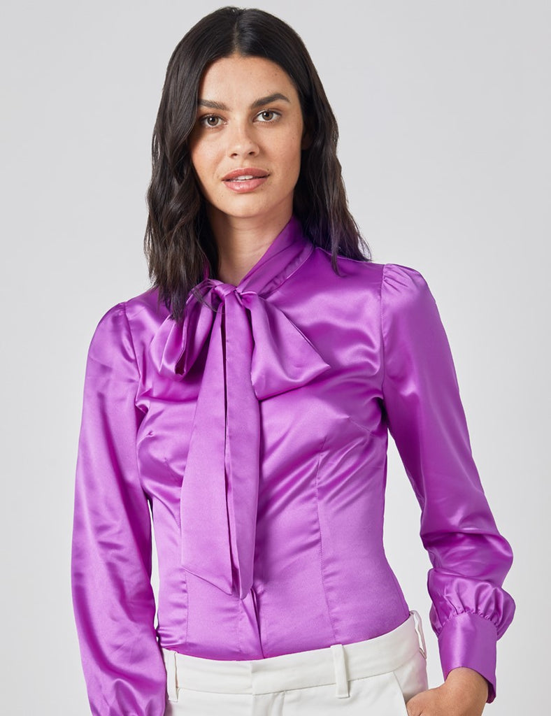 Bright Purple Fitted Satin Blouse - Single Cuff - Pussy Bow