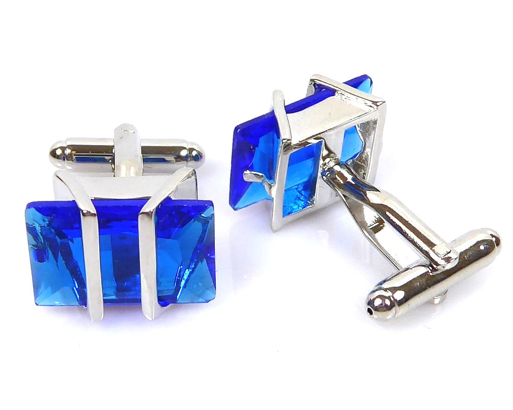 BLUE CRYSTAL SILVER CUFFLINKS