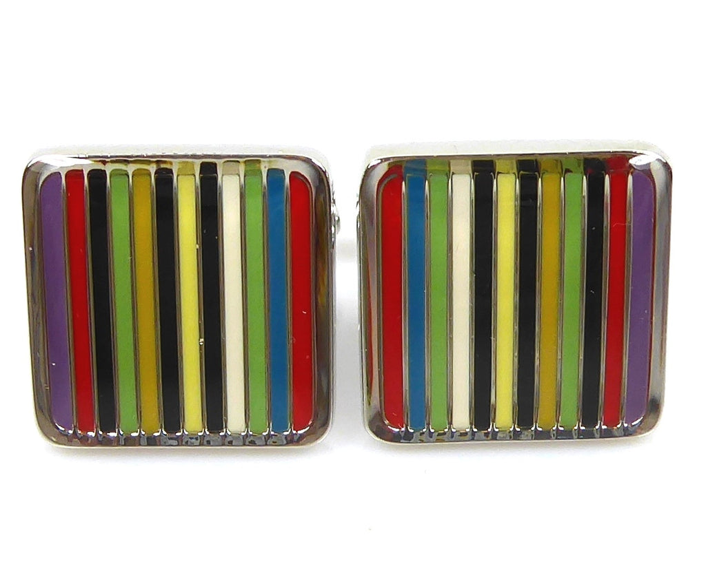 Rainbow Striped Square Cufflinks