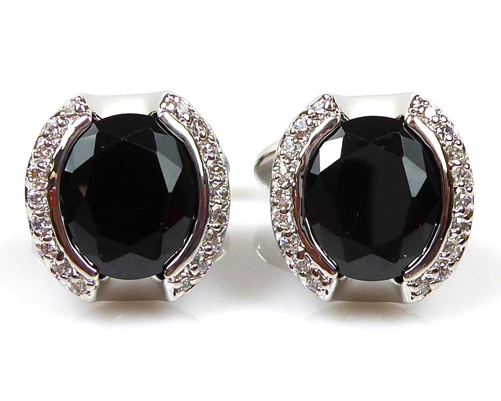 Black Round Stone Crystal Cufflinks