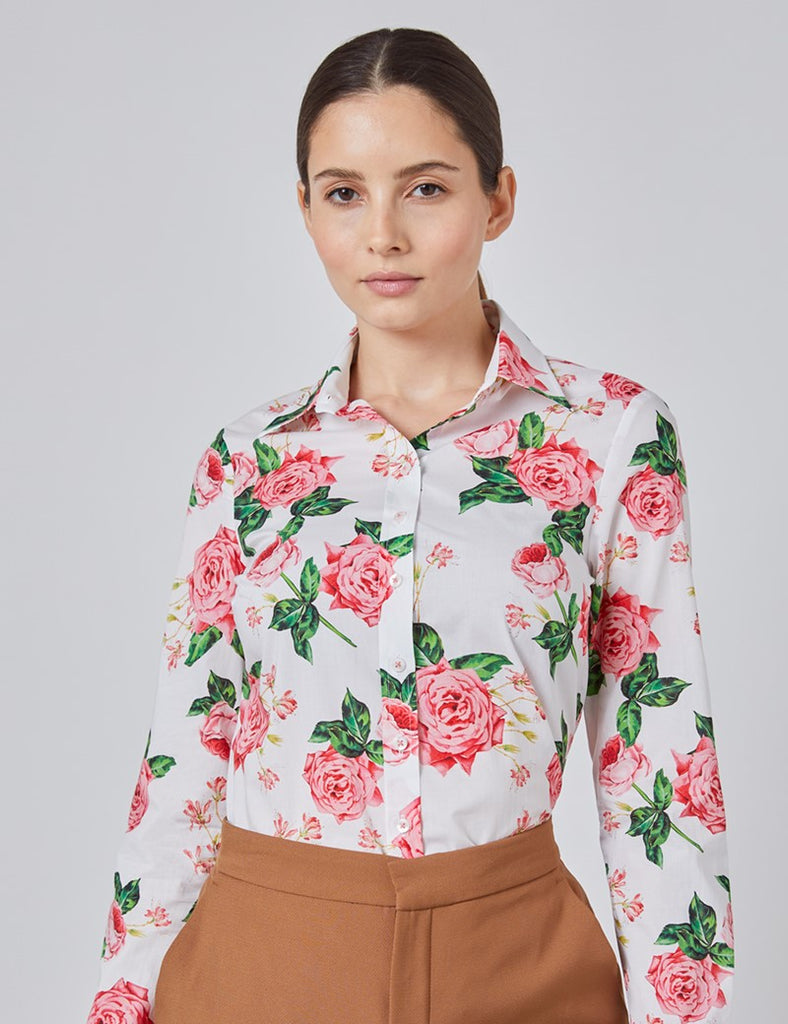 White & Pink Rose Floral Print Semi Fitted Shirt - Single Cuff