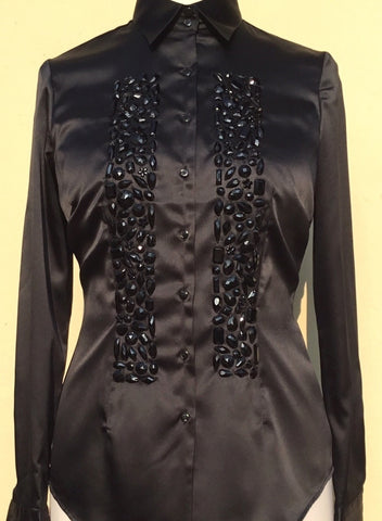 HAND EMBROIDERED BLACK SHIRT WITH BEADS - DOUBLE CUFF